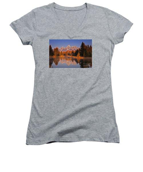 Sunrise At Schwabacher Landing  Women's V-Neck T-Shirt