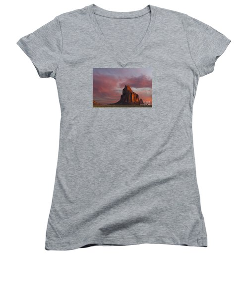 Women's V-Neck T-Shirt (Junior Cut) featuring the photograph Sunrise At Shiprock New Mexico by Keith Kapple
