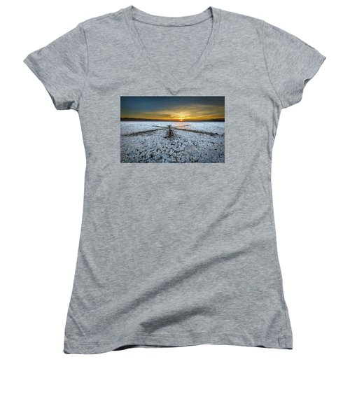 Sunrise At Soda Lake Women's V-Neck (Athletic Fit)