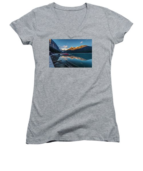 Women's V-Neck T-Shirt (Junior Cut) featuring the photograph Sunrise At The Canoe Shack Of Lake Louise by Pierre Leclerc Photography