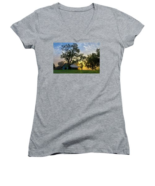 Women's V-Neck T-Shirt (Junior Cut) featuring the photograph Sunrise At The Farm by George Randy Bass