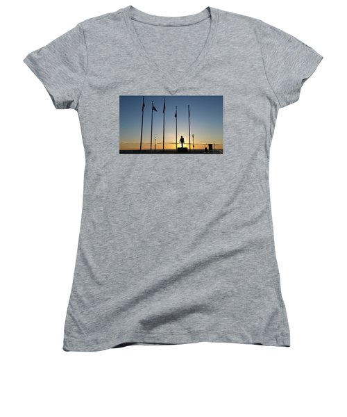 Sunrise At The Firefighters Memorial Women's V-Neck (Athletic Fit)