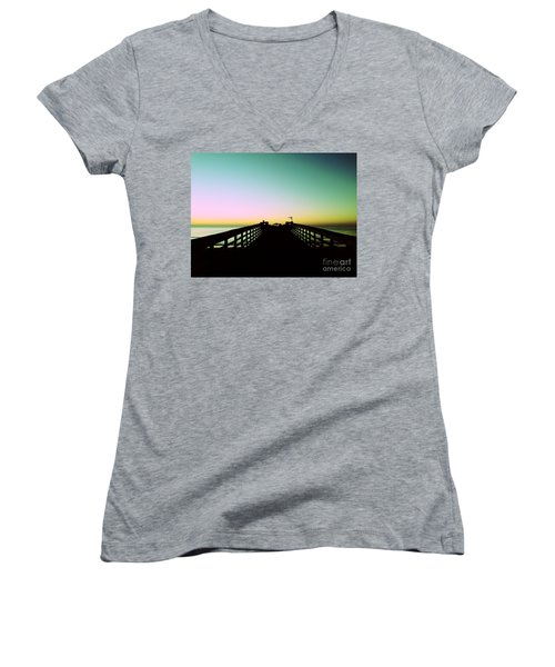 Sunrise At The Myrtle Beach State Park Pier In South Carolina Us Women's V-Neck T-Shirt