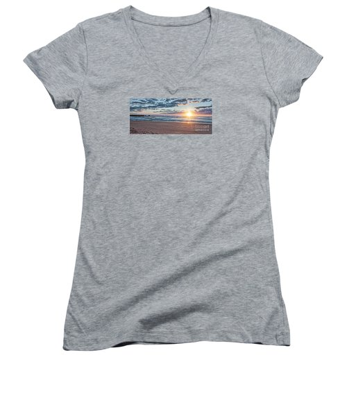 Sunrise At The Outer Banks Women's V-Neck T-Shirt (Junior Cut) by Laurinda Bowling