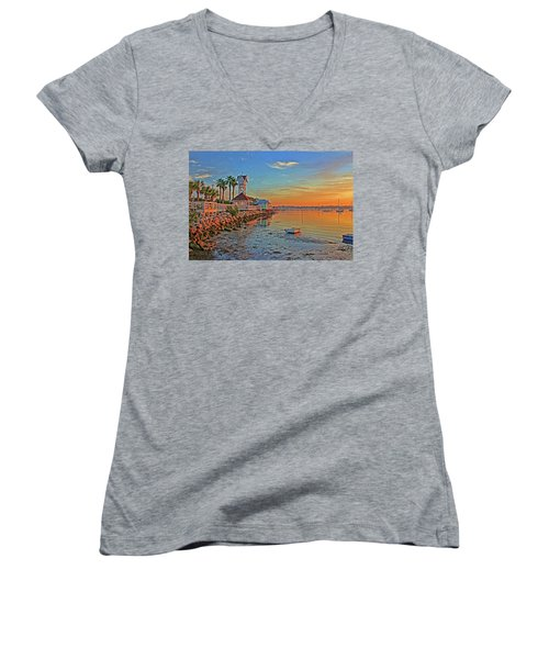Sunrise At The Pier Women's V-Neck (Athletic Fit)