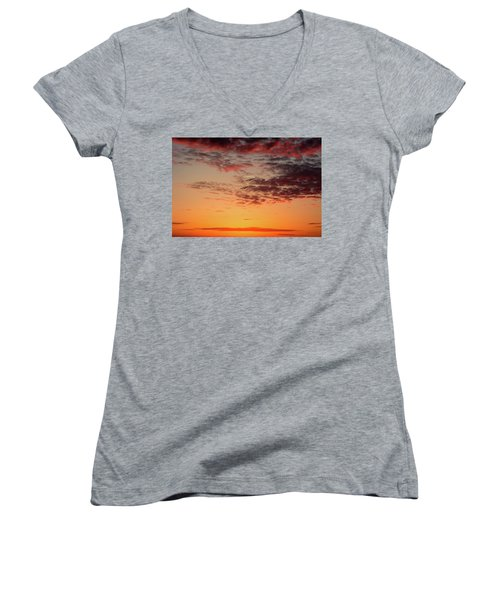 Sunrise At Treasure Island Women's V-Neck T-Shirt (Junior Cut)