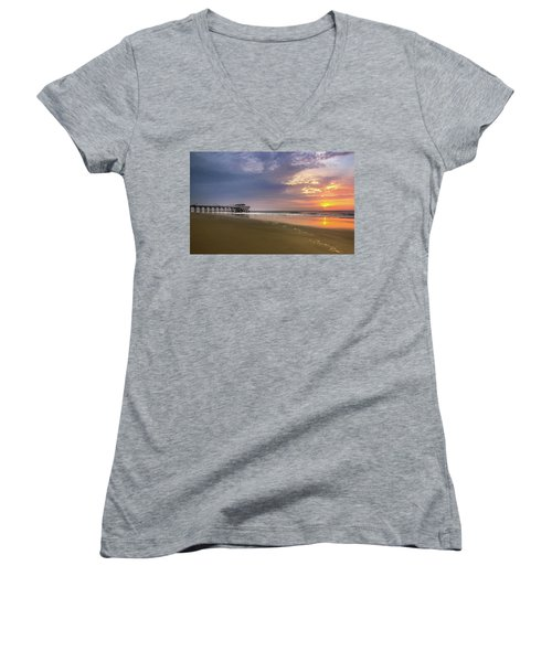 Sunrise At Tybee Island Pier Women's V-Neck