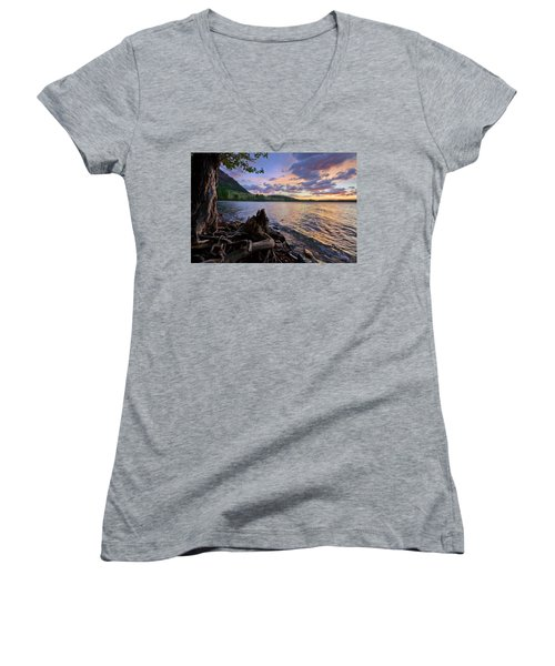 Sunrise At Waterton Lakes Women's V-Neck (Athletic Fit)