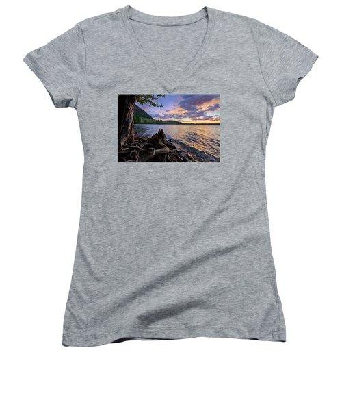 Sunrise At Waterton Lakes Women's V-Neck T-Shirt