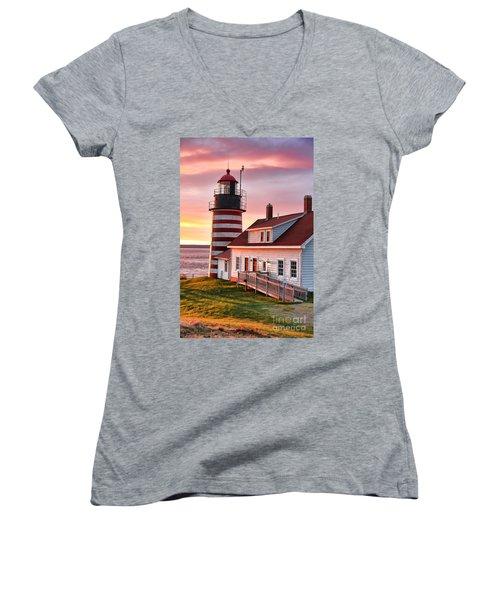 West Quoddy Head Lighthouse 3747 Women's V-Neck T-Shirt