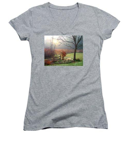 Sunrise Women's V-Neck T-Shirt (Junior Cut) by Betsy Zimmerli