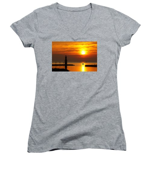 Sunrise Brushstrokes Women's V-Neck T-Shirt (Junior Cut) by Bill Pevlor