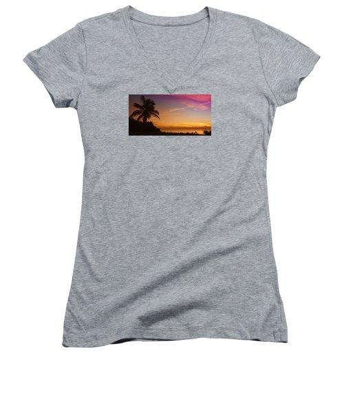 Sunrise Color Women's V-Neck T-Shirt (Junior Cut) by Don Durfee