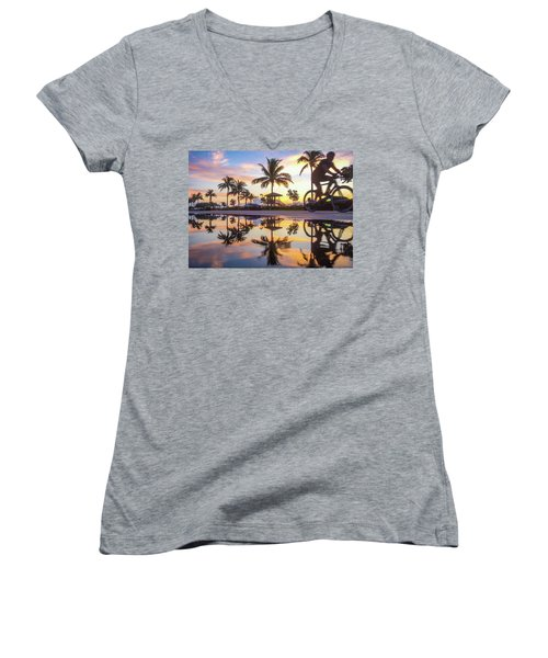 Sunrise Cyclist Delray Beach Florida Women's V-Neck (Athletic Fit)