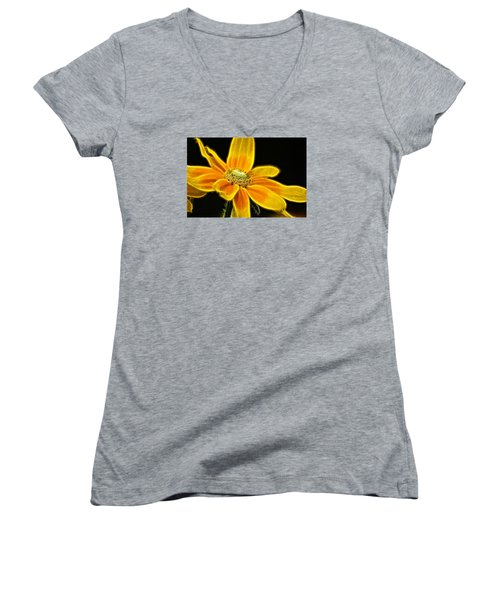 Women's V-Neck T-Shirt (Junior Cut) featuring the photograph Sunrise Daisy by Cameron Wood