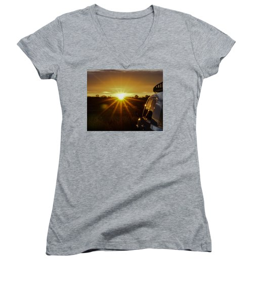 Women's V-Neck T-Shirt (Junior Cut) featuring the photograph Sunrise And My Ride by Jeremy McKay