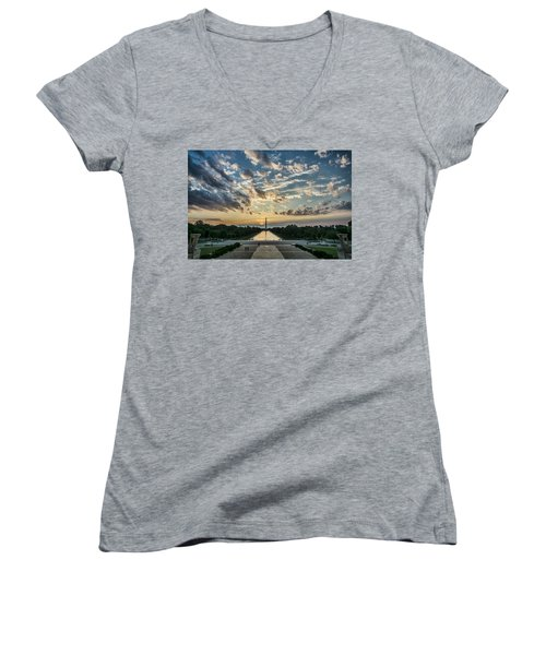 Sunrise From The Steps Of The Lincoln Memorial In Washington, Dc  Women's V-Neck