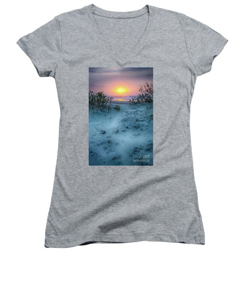 Sunrise Hike On The Outer Banks Ap Women's V-Neck T-Shirt (Junior Cut) by Dan Carmichael