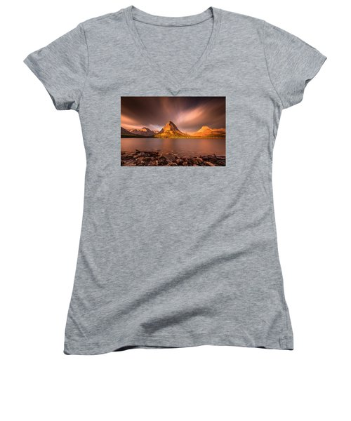 Women's V-Neck T-Shirt (Junior Cut) featuring the photograph Sunrise In Glacier National Park by Pierre Leclerc Photography
