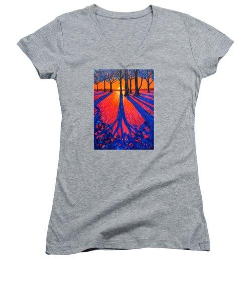 Sunrise In Glory - Long Shadows Of Trees At Dawn Women's V-Neck T-Shirt (Junior Cut) by Ana Maria Edulescu