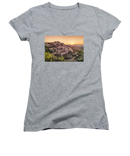 Women's V-Neck featuring the photograph Sunrise In Gordes Provence  by Juergen Held