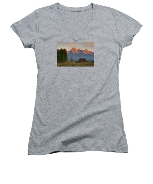 Sunrise In Jackson Hole Women's V-Neck T-Shirt