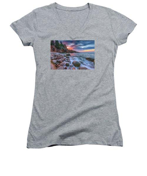 Sunrise In Monument Cove Women's V-Neck T-Shirt (Junior Cut) by Rick Berk