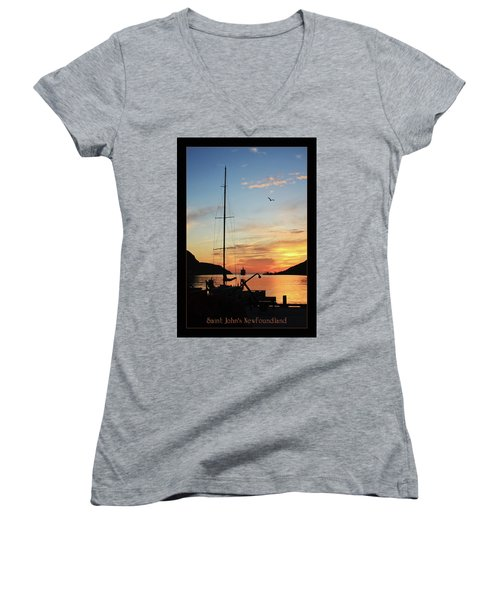 Sunrise In Newfoundland Women's V-Neck (Athletic Fit)