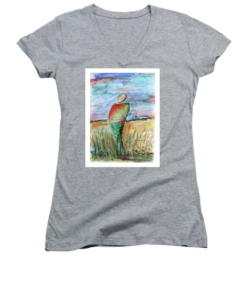 Sunrise In The Grasses Women's V-Neck
