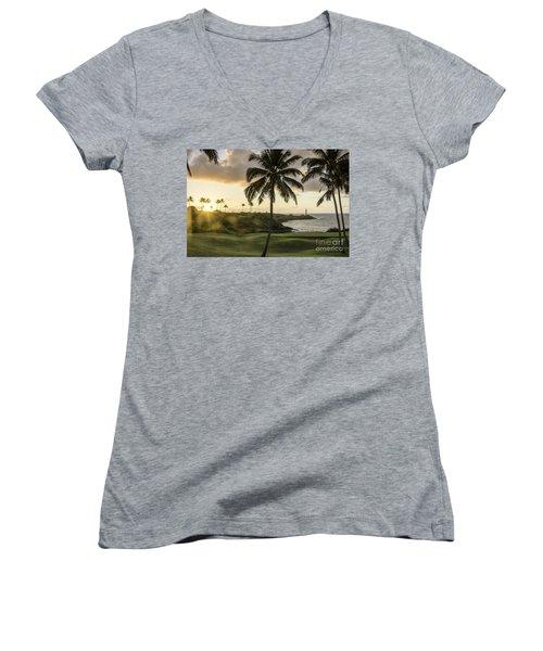Sunrise Ninini Point, Kauai Women's V-Neck T-Shirt