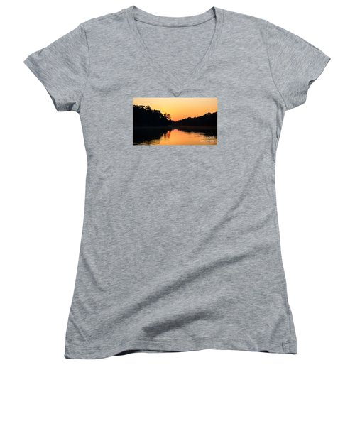 Sunrise On A Lake Women's V-Neck T-Shirt