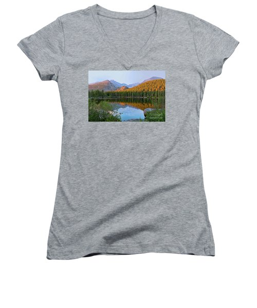 Women's V-Neck T-Shirt (Junior Cut) featuring the photograph Sunrise On Bear Lake Rocky Mtns by Teri Atkins Brown