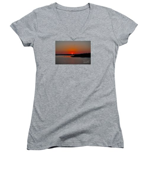 Women's V-Neck T-Shirt (Junior Cut) featuring the photograph Sunrise On Lake Ray Hubbard by Diana Mary Sharpton