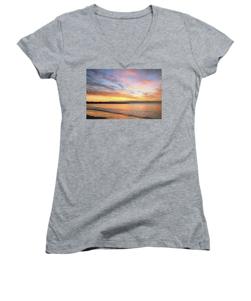 Sunrise On Middletown Rhode Island Women's V-Neck T-Shirt (Junior Cut) by Roupen  Baker