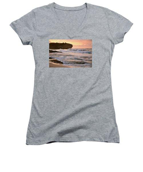 Sunrise On Shipwreck Beach Women's V-Neck T-Shirt (Junior Cut) by Marie Hicks