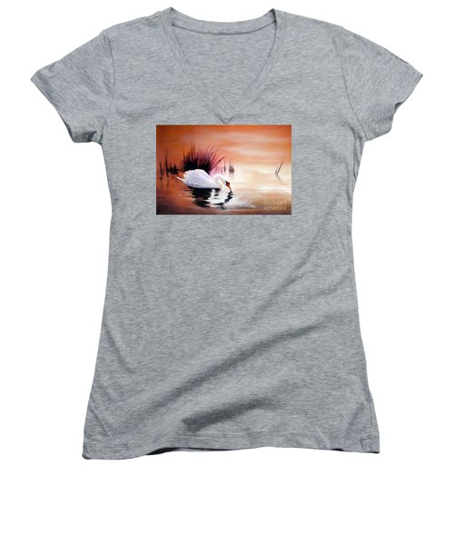 Women's V-Neck T-Shirt (Junior Cut) featuring the painting Sunrise On Swan Lake by Michael Rock