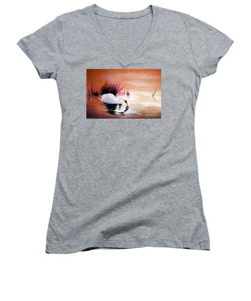 Sunrise On Swan Lake Women's V-Neck T-Shirt (Junior Cut) by Michael Rock