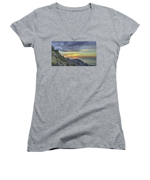 Sunrise On The Coast Women's V-Neck (Athletic Fit)