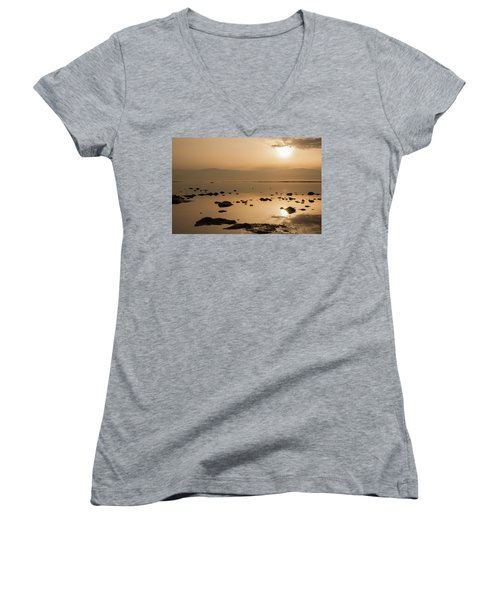 Sunrise On The Dead Sea Women's V-Neck (Athletic Fit)