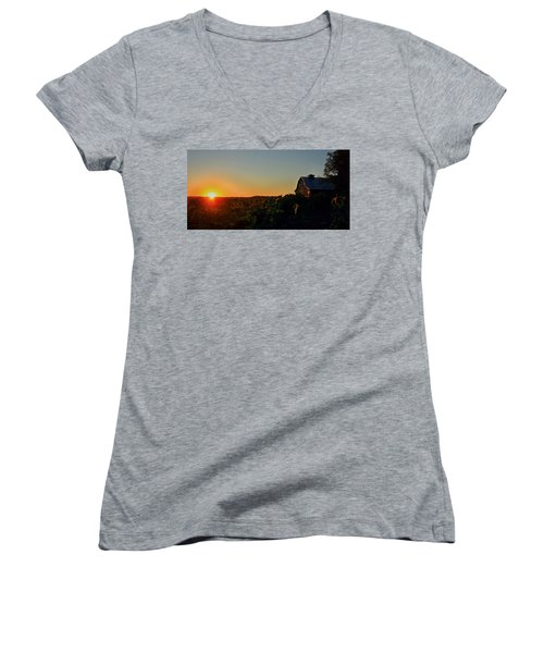 Women's V-Neck T-Shirt (Junior Cut) featuring the photograph Sunrise On The Farm by Chris Berry
