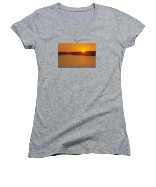Women's V-Neck T-Shirt (Junior Cut) featuring the photograph Sunrise On The Ferry by Greg Graham