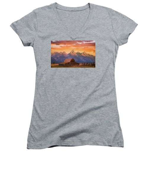 Sunrise On The Ranch Women's V-Neck