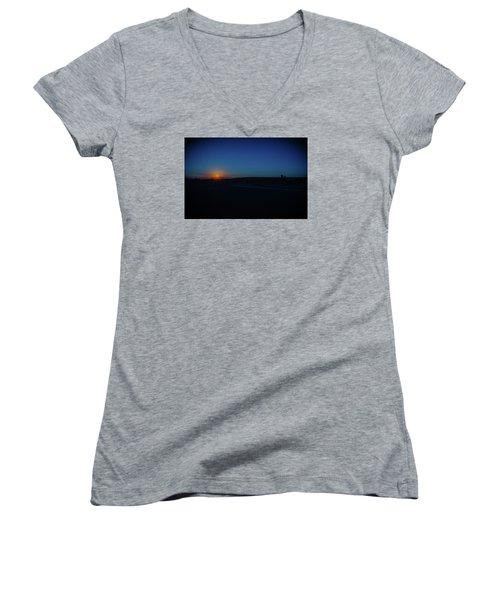 Sunrise On The Reservation Women's V-Neck T-Shirt (Junior Cut) by Mark Dunton