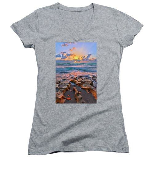 Women's V-Neck T-Shirt (Junior Cut) featuring the photograph Sunrise Over Carlin Park In Jupiter Florida by Justin Kelefas