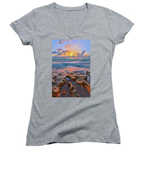 Sunrise Over Carlin Park In Jupiter Florida Women's V-Neck T-Shirt (Junior Cut) by Justin Kelefas