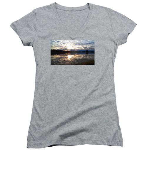Sunrise Over Flooded Field In Bow Women's V-Neck T-Shirt (Junior Cut) by Karen Molenaar Terrell