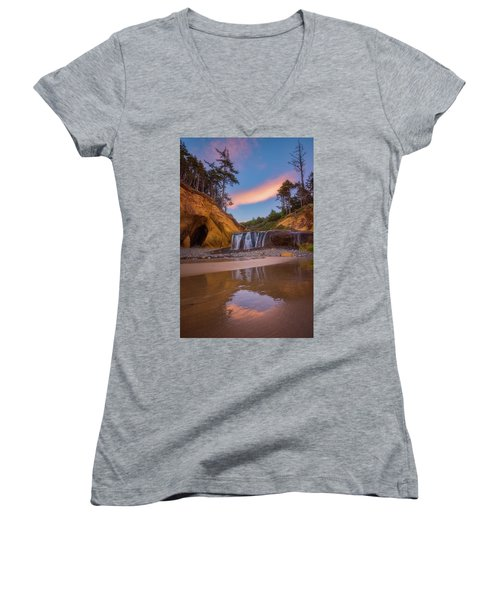 Women's V-Neck T-Shirt (Junior Cut) featuring the photograph Sunrise Over Hug Point by Darren White