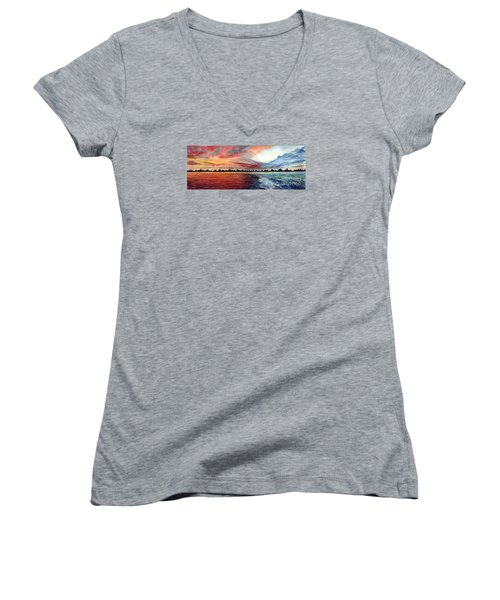 Sunrise Over Indian Lake Women's V-Neck T-Shirt (Junior Cut) by Nancy Cupp