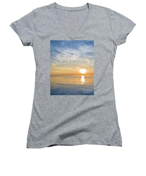 Sunrise Over Lake Michigan In Chicago Women's V-Neck
