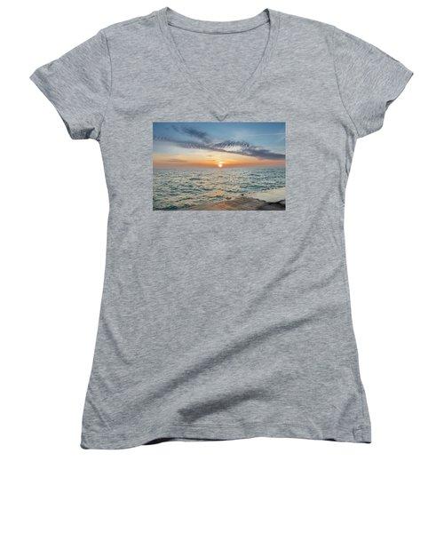 Sunrise Over Lake Michigan Women's V-Neck T-Shirt
